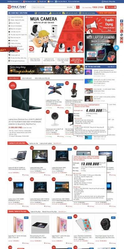 Mẫu thiết kế website bán hàng Phucanh.vn – Máy tính, Điện thoại, Thiết bị văn phòng – Giải pháp Cô_ – www.phucanh.vn