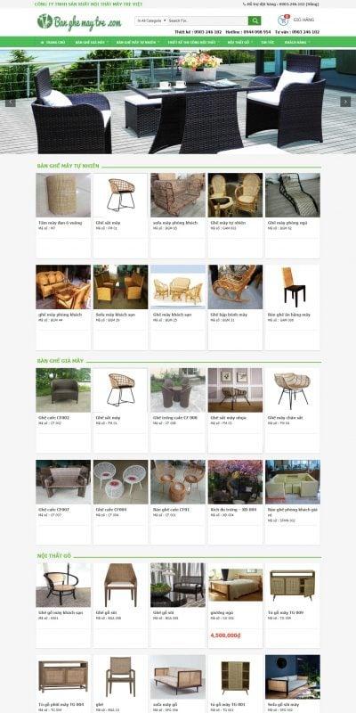 Mẫu thiết kế website bán hàng Nội Thất Mây Tre – banghemaytre.com