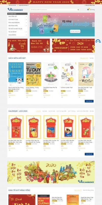 Mẫu thiết kế website bán hàng Nhà sách online VanLangbooks – Miễn phí vận chuyển – online.vanlang.vn