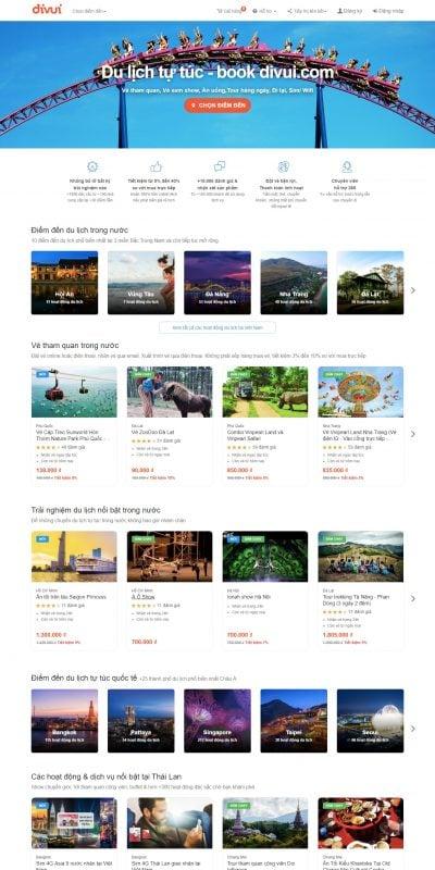 Mẫu thiết kế website bán hàng  Đặt Vé, Tour, Show… Rẻ mỗi ngày – Các hoạt động du lịch khắp Châu _ – divui.com
