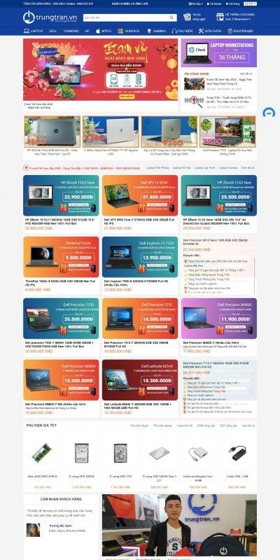 Mẫu thiết kế website bán hàng TrungTran.vn – Hệ thống bán lẻ Laptop Nhập khẩu số 1 về Bảo hành & h_ – trungtran.vn