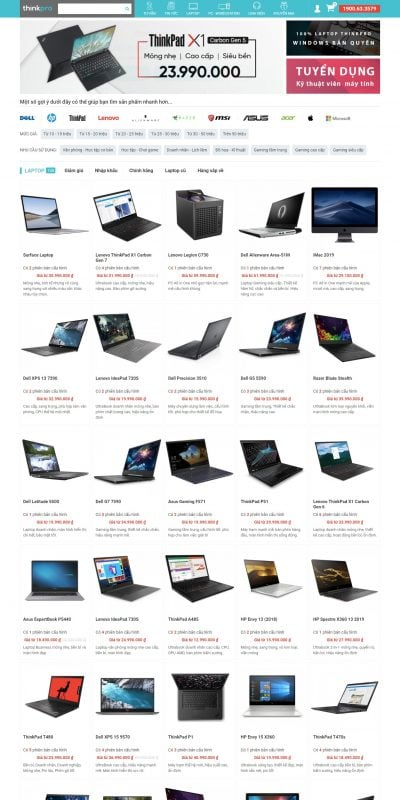 Mẫu thiết kế website bán hàng ThinkPro – Hệ thống bán lẻ máy tính nhập khẩu giá rẻ toàn quốc_ – www.thinkpro.vn