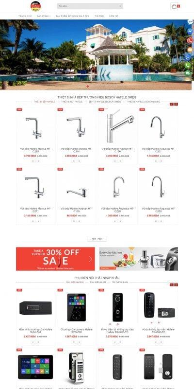 Mẫu thiết kế website bán hàng Phụ kiện nhà Bếp – Thiết bị nhà Bếp – Hafeler – hafeler.com