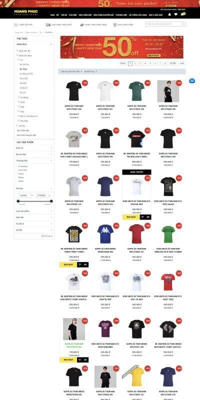 Mẫu thiết kế website bán hàng Thời trang Áo thun tại Hoàng Phúc International – hoang-phuc.com