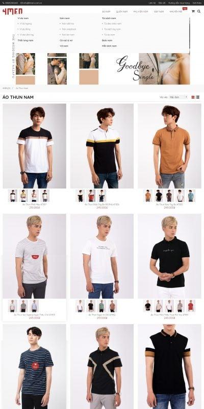 Mẫu thiết kế website bán hàng  Áo thun nam hàng hiệu, áo thun cao cấp, kiểu đẹp 2020 – 4men.com.vn