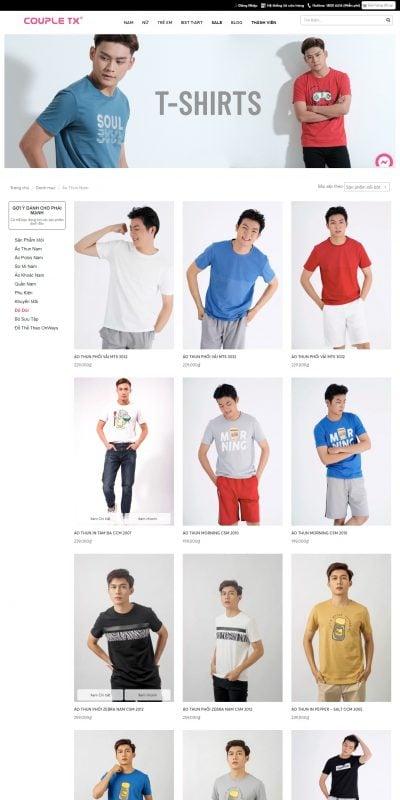 Mẫu thiết kế website bán hàng  Áo thun nam – Áo phông Nam – Áo T Shirt Nam – Couple TX – coupletx.com