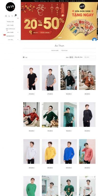 Mẫu thiết kế website bán hàng  áo thun nam đẹp – totoshop.vn – totoshop.vn