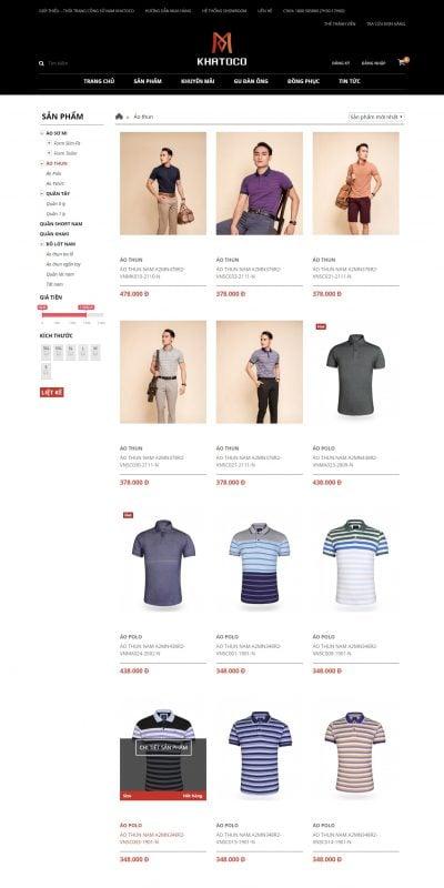 Mẫu thiết kế website bán hàng Áo thun – KHATOCO – Thời Trang Công Sở Nam – thoitrangkhatoco.vn