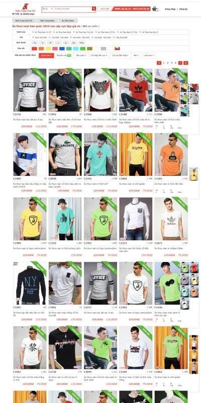 Mẫu thiết kế website bán hàng Áo Thun Nam 2019 Đẹp Giá Rẻ – Áo Thun Hàn Quốc Cao Cấp_ – www.thoitrangtichtac.com