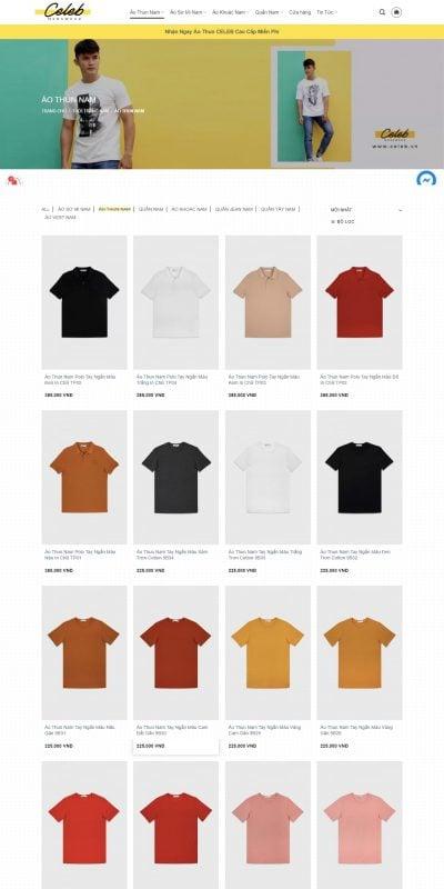 Mẫu thiết kế website bán hàng Áo Thun Nam Hàn Quốc Hàng Hiệu Ôm Body Cao Cấp – CELEB STORE – www.celeb.vn