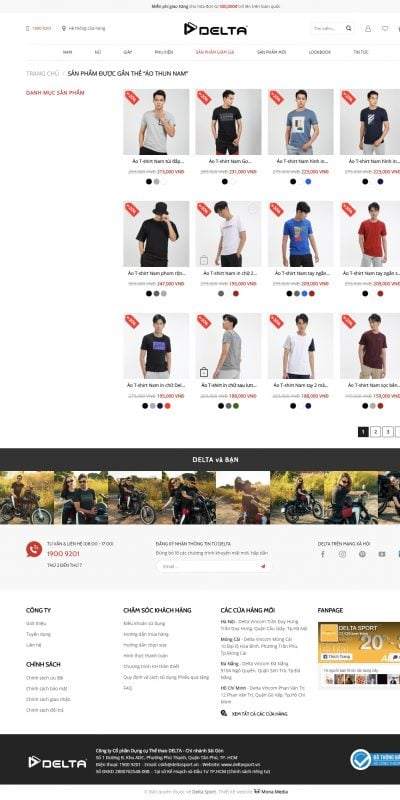 Mẫu thiết kế website bán hàng Áo thun nam – DELTA – Thời trang thể thao – deltasport.vn