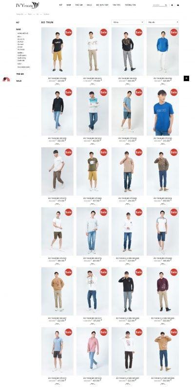 Mẫu thiết kế website bán hàng Áo thun – IVY moda – ivymoda.com