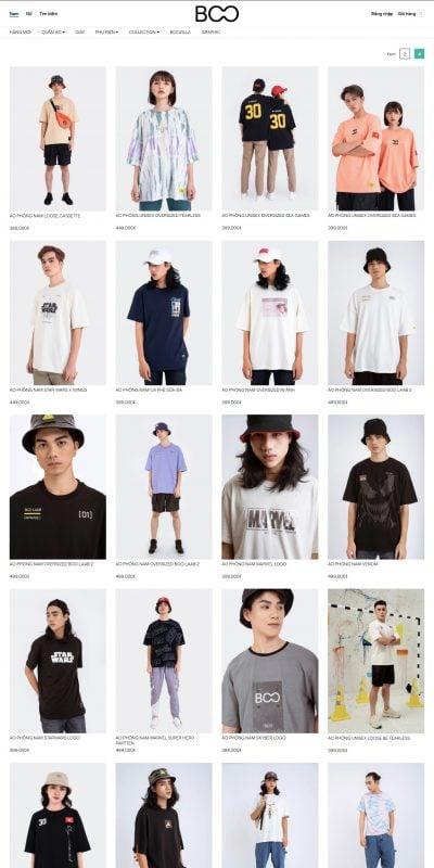 Mẫu thiết kế website bán hàng NAM – Áo thun_Ngắn tay – BOO – boo.vn