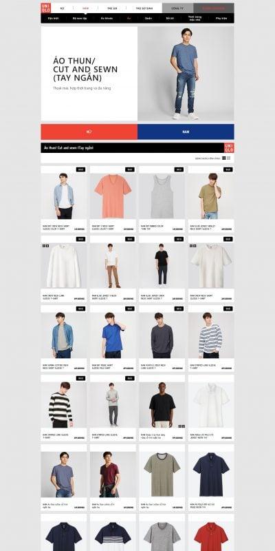 Mẫu thiết kế website bán hàng UNIQLO Áo thun_ Cut and sewn (Tay ngắn) – www.uniqlo.com