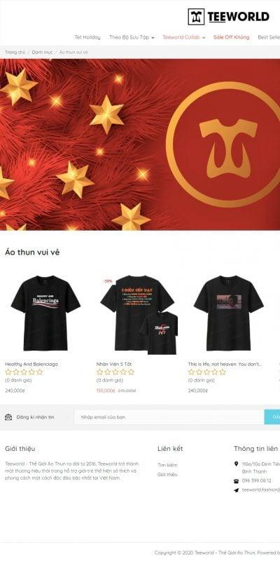 Mẫu thiết kế website bán hàng Áo thun vui vẻ – Teeworld – Thế Giới Áo Thun – teeworld.fashion