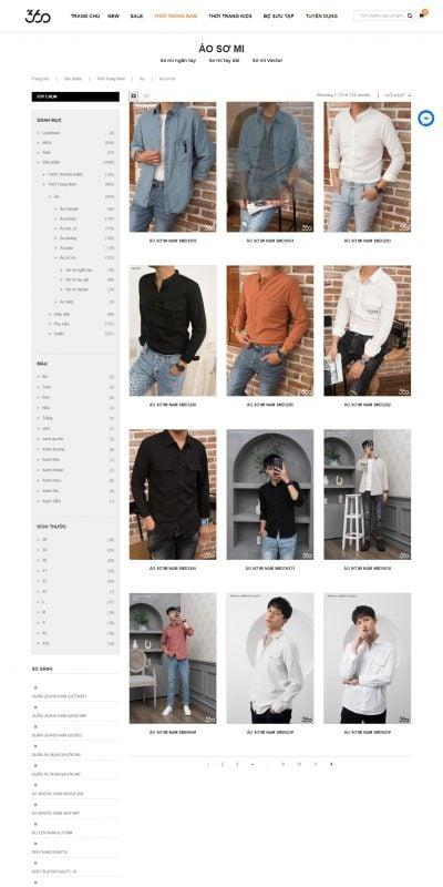 Mẫu thiết kế website bán hàng Áo sơ mi thời trang nam hàng hiệu và phong cách – 360Boutique.vn_ – 360boutique.vn