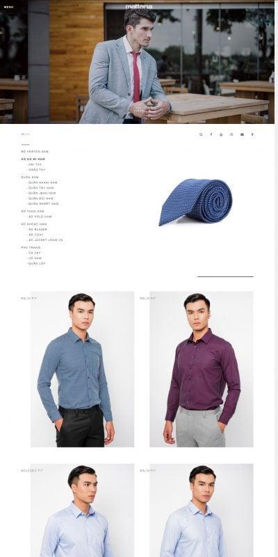 Mẫu thiết kế website bán hàng  Áo sơ mi nam – mattana – Thương hiệu thuộc TỔNG CÔNG TY CP MAY NHÀ B_ – www.mattana.com.vn