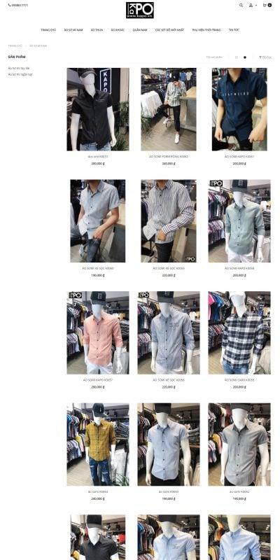 Mẫu thiết kế website bán hàng Áo Sơ Mi Nam – kapo.vn