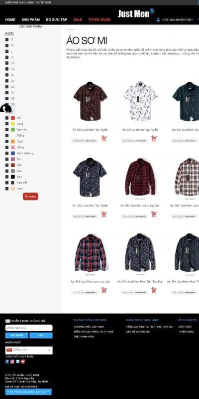 Mẫu thiết kế website bán hàng Áo sơ mi -Just Men – justmen.vn