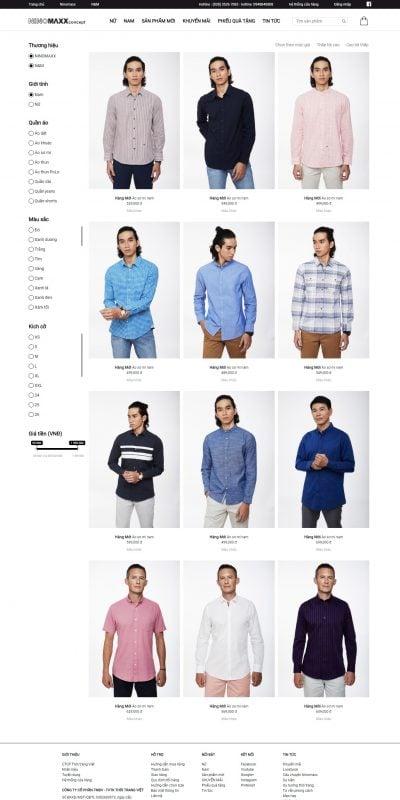 Mẫu thiết kế website bán hàng  Ninomaxx – Áo sơ mi – www.ninomaxx.com.vn