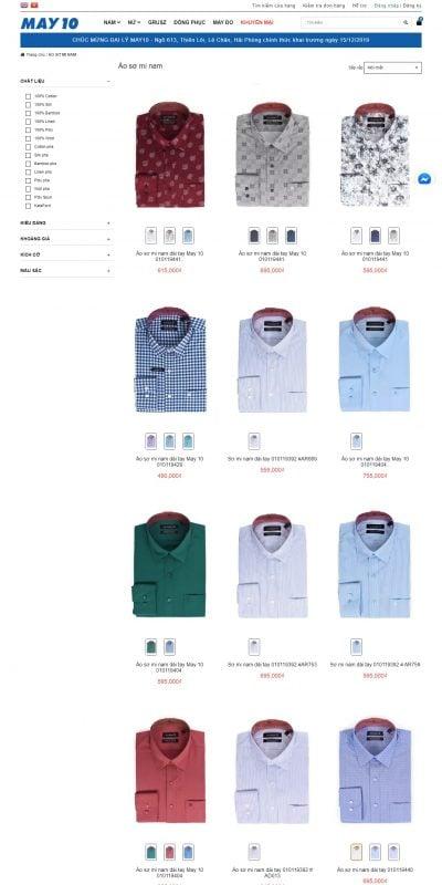 Mẫu thiết kế website bán hàng Áo sơ mi – May10 – may10.vn