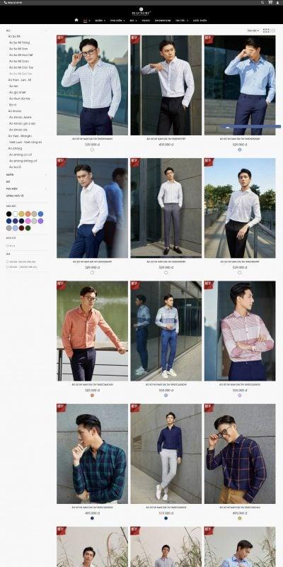 Mẫu thiết kế website bán hàng Áo Sơ Mi Dài Tay – biluxury.vn