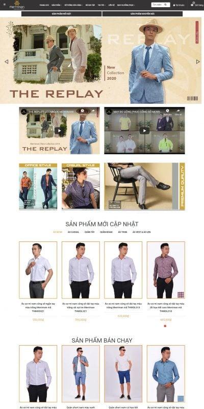 Mẫu thiết kế website bán hàng Thời trang nam công sở cao cấp Merriman – Áo sơ mi nam – Quần tây na_ – merriman.com.vn