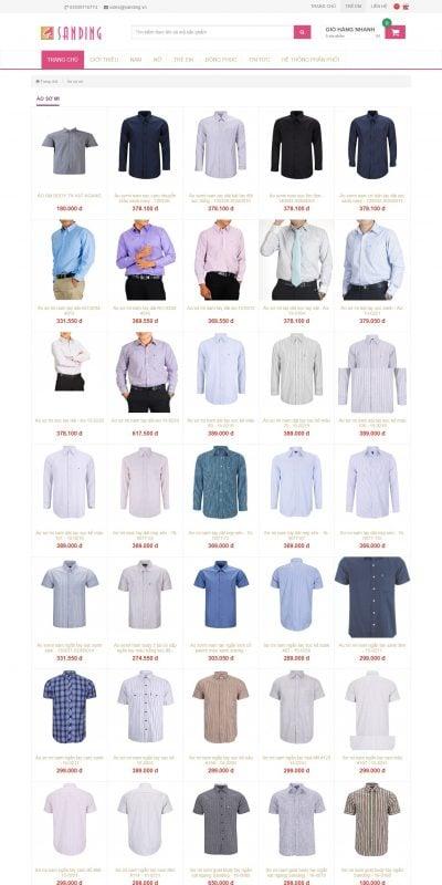 Mẫu thiết kế website bán hàng Thời trang áo sơ mi nam nữ – sanding.vn