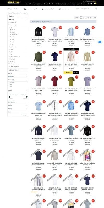 Mẫu thiết kế website bán hàng Thời trang Áo sơ mi tại Hoàng Phúc International – hoang-phuc.com
