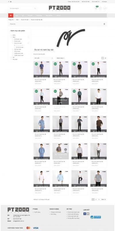 Mẫu thiết kế website bán hàng Áo sơ mi nam tay dài – PT2000 – pt2000.com.vn