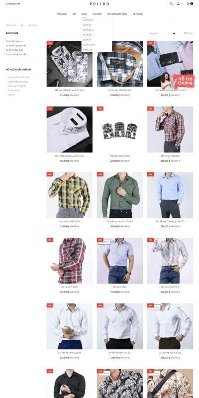 Mẫu thiết kế website bán hàng Áo sơ mi nam đẹp xu hướng 2019. Áo sơ mi nam hàng hiệu chất lượng tố_ – polido.vn