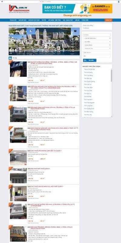 Mẫu thiết kế website tin tức 123batdongsan.com.vn-Đăng tin bất động sản miễn phí