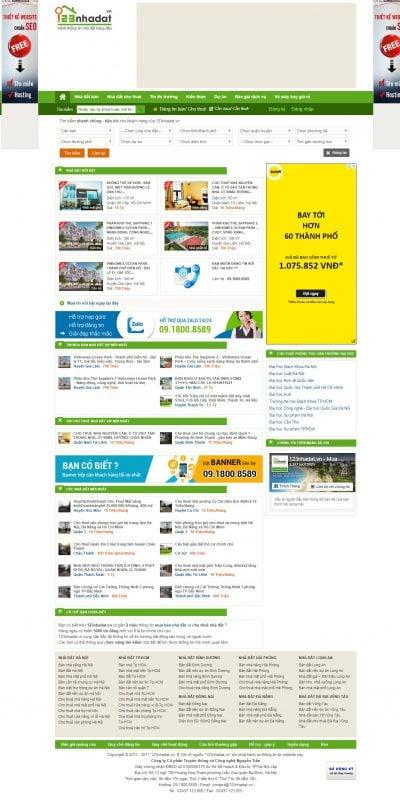 Mẫu thiết kế website tin tức 123nhadat.vn-Nhà đất – Mua bán nhà đất – cho thuê nhà đất