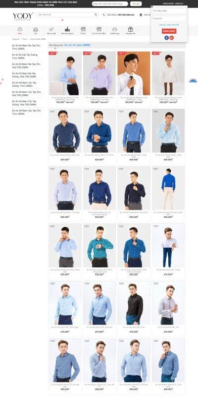 Mẫu thiết kế website bán hàng Áo sơ mi – yody.vn