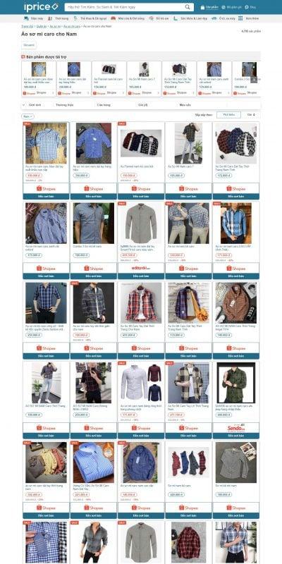Mẫu thiết kế website bán hàng Mua Áo sơ mi caro Nam Giá Tốt – Khuyến Mãi Tháng
