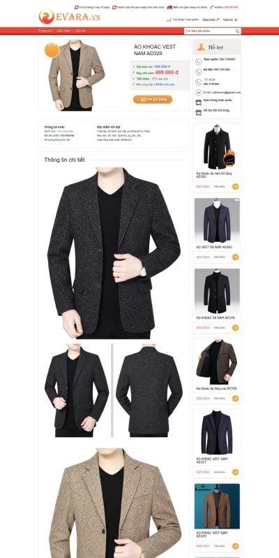 Mẫu thiết kế website bán hàng EVARA.VN – Shop thời trang cao cấp EVARA – ÁO KHOÁC VEST NAM AD329_ – evara.vn