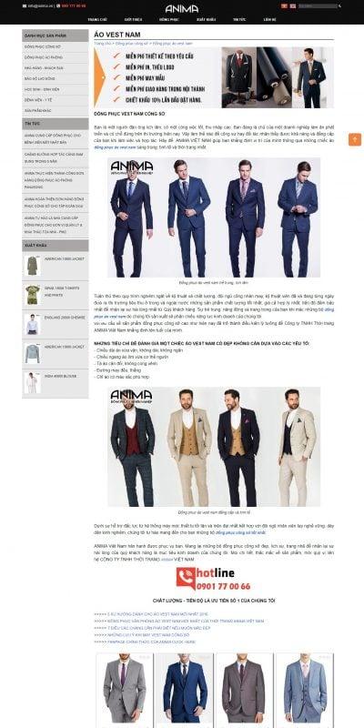 Mẫu thiết kế website bán hàng ĐỒNG PHỤC VEST NAM CÔNG SỞ SANG TRỌNG, LỊCH LÃM – anima.com.vn