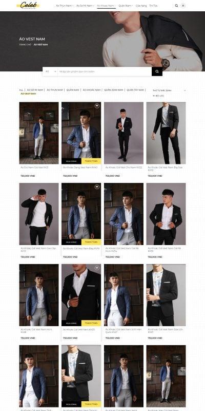 Mẫu thiết kế website bán hàng Áo Vest Nam Sang Trọng Đẳng Cấp Dành Cho Phái Mạnh – nguyensashop.com.vn