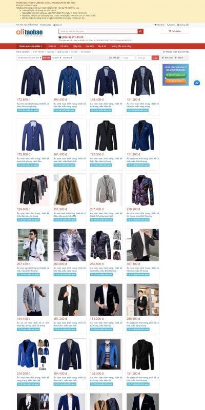 Mẫu thiết kế website bán hàng Áo vest nam – Alitaobao – Bán buôn, bán sỉ, order, nhập hàng Quảng C_ – alitaobao.vn