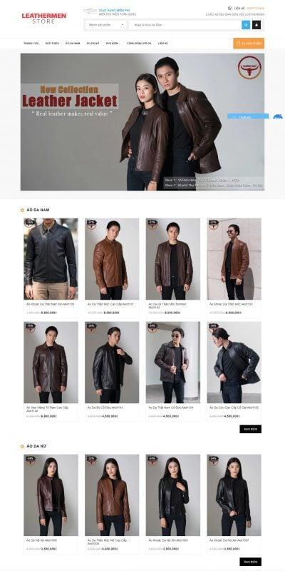 Mẫu thiết kế website bán hàng Áo Khoác Da thật, Áo Da Hàng Hiệu, Áo da thật, xưởng may áo da thật _ – leathermen.vn