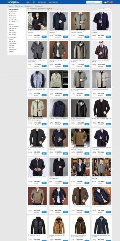Mẫu thiết kế website bán hàng Áo khoác nam, áo khoác trung niên – www.chapi.vn