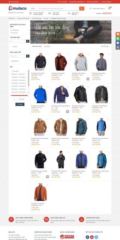 Mẫu thiết kế website bán hàng Áo khoác & áo vest nam – Mulaco VN – www.mulaco.vn