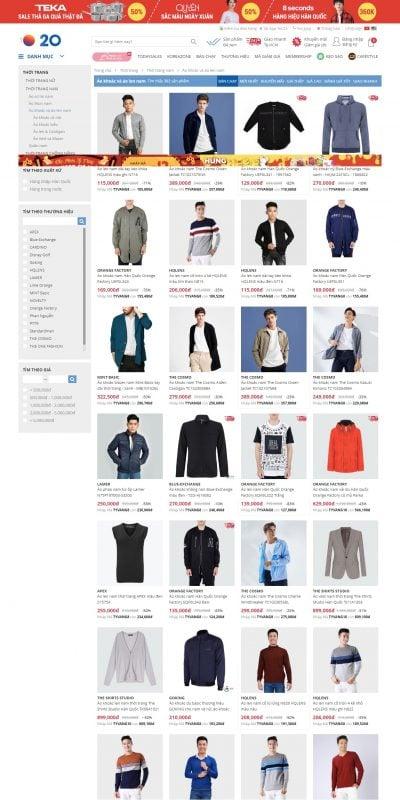 Mẫu thiết kế website bán hàng Áo khoác & áo len Nam đẹp, thiết kế thời trang, giá tốt nhất – Yes24_ – www.yes24.vn