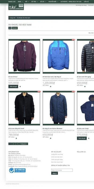 Mẫu thiết kế website bán hàng Áo khoác_ Áo Vest nam – Tây Clothes & Shoes – thoitrangtay.com