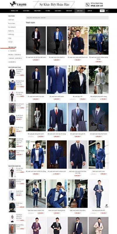 Mẫu thiết kế website bán hàng Cavino – Chuyên thiết kế may sẵn áo vest nam tại Hà Nội – 0968320135_ – cavino.vn