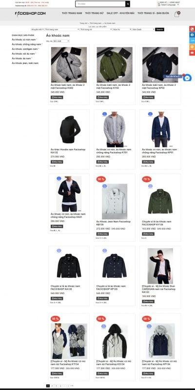 Mẫu thiết kế website bán hàng Áo khoác nam TPHCM, Bán buôn bán sỉ và Bán lẻ Toàn quốc – www.facioshop.com