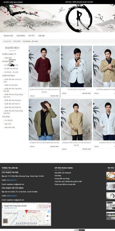 Mẫu thiết kế website bán hàng Áo khoác – Áo vest – www.rough.vn