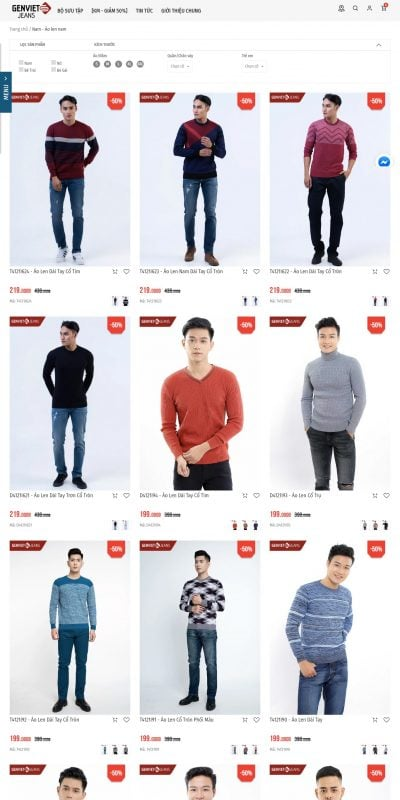 Mẫu thiết kế website bán hàng Nam – Áo len – GENVIET JEANS – genviet.com