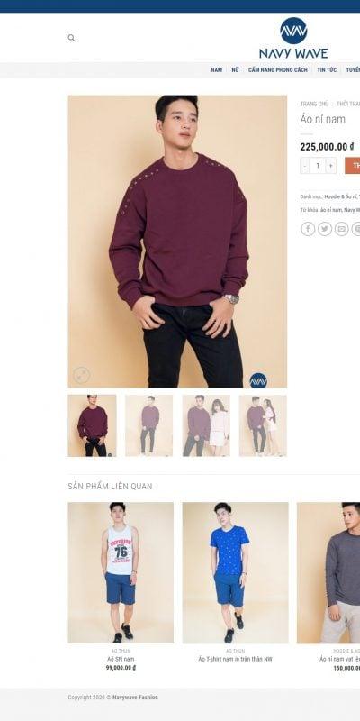 Mẫu thiết kế website bán hàng Áo nỉ nam – Navywave Fashion – navywave.vn