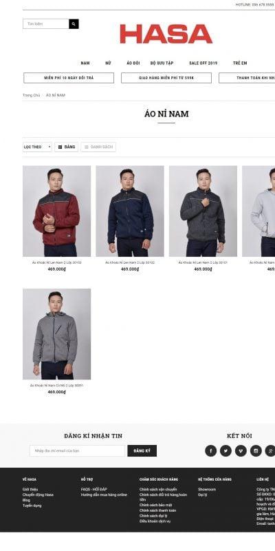 Mẫu thiết kế website bán hàng ÁO NỈ NAM – hasa.com.vn